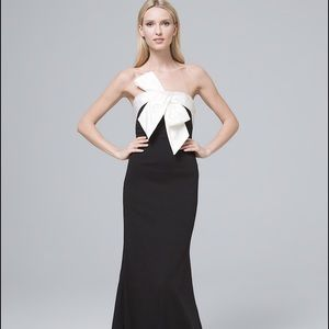Adrianna Papell Black and white bow evening dress